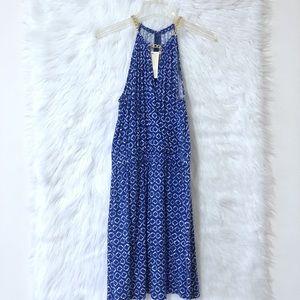 Michael Kors Gold Chain Neck Blue Halter Dress